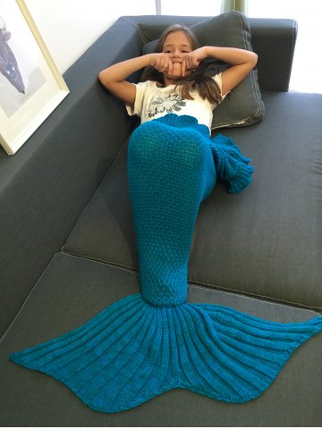 Discount Comfortable Flounced Design Knitted Mermaid Tail Blanket BLUE
