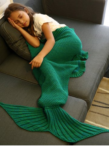 Comfortable Flounced Design Knitted Mermaid Tail Blanket - GREEN