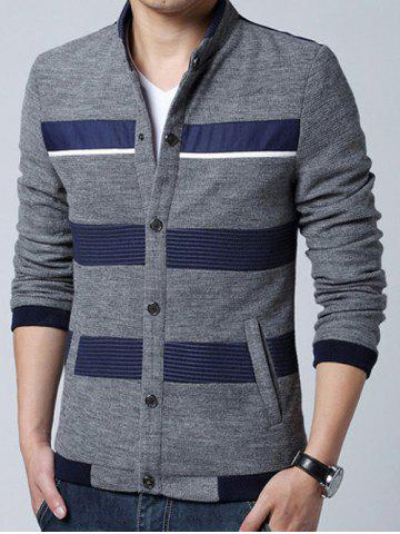 Shops Stand Collar Stripe Splicing Design Knit Blends Cardigan GRAY 3XL