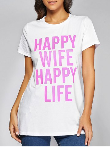 Online Casual Letter Print T-Shirt WHITE 3XL