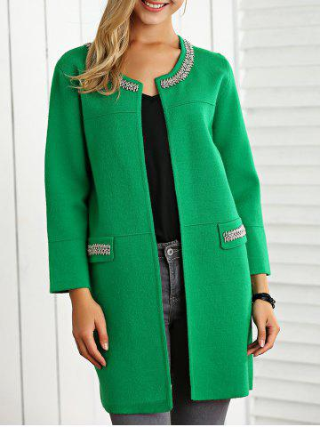 Affordable Fitting Beading Woolen Overcoat