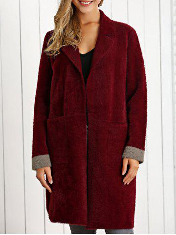 Fancy Lapel Neck Color Block Woolen Overcoat