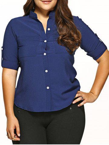 Hot Plus Size Pocket Embellished Asymmetric Hem Shirt