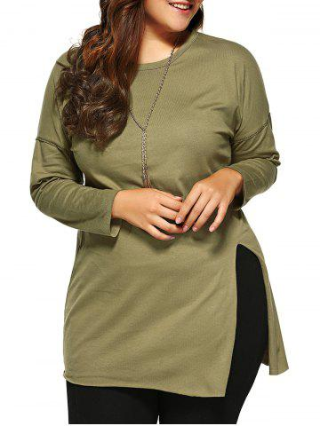 Hot Plus Size Side Slit Long T-Shirt ARMY GREEN 5XL