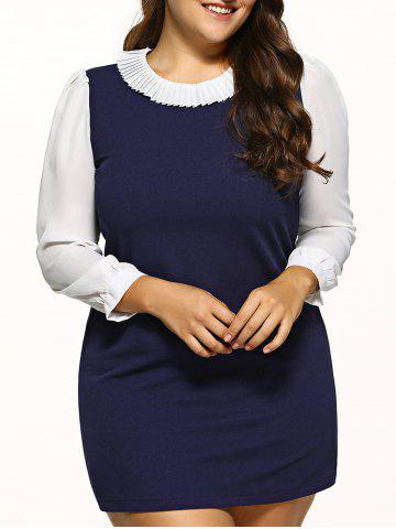 Shop Plus Size Ruff Collar Chiffon Dress