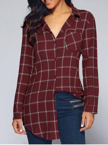 Store Long Style One Pocket Plaid Shirt