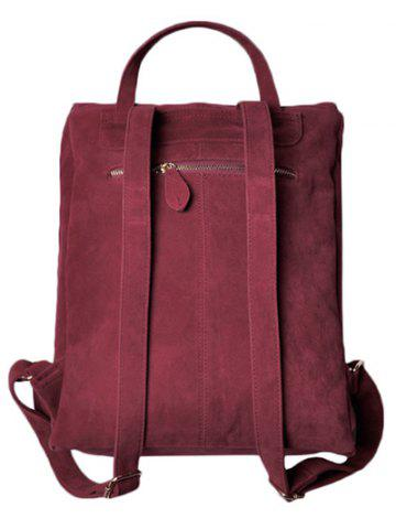 Outfits Leisure Suede Zips Backpack - WINE RED  Mobile
