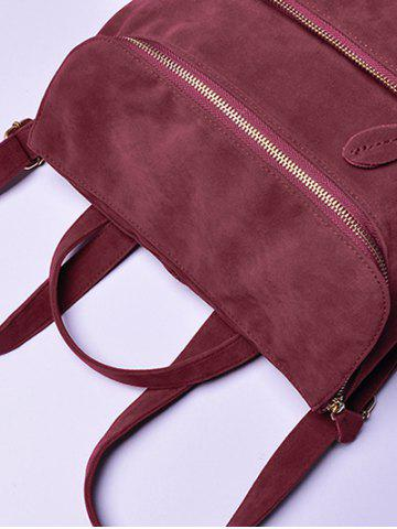 New Leisure Suede Zips Backpack - WINE RED  Mobile