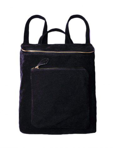 New Leisure Suede Zips Backpack - BLACK  Mobile