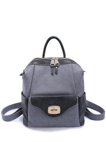 Fashion Hasp Textured PU Leather Backpack
