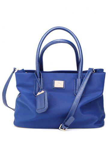 Chic PU Leather Spliced Metal Nylon Tote Bag