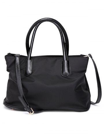 Store PU Leather Spliced Metal Nylon Tote Bag - BLACK  Mobile