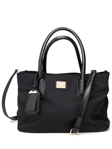 Discount PU Leather Spliced Metal Nylon Tote Bag - BLACK  Mobile