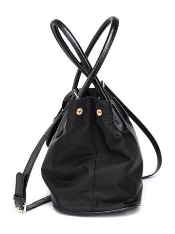 Fancy PU Leather Spliced Metal Nylon Tote Bag - BLACK  Mobile