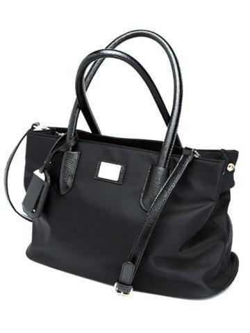 Outfits PU Leather Spliced Metal Nylon Tote Bag - BLACK  Mobile