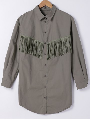 Shops Fringe Embellished Long Shirt