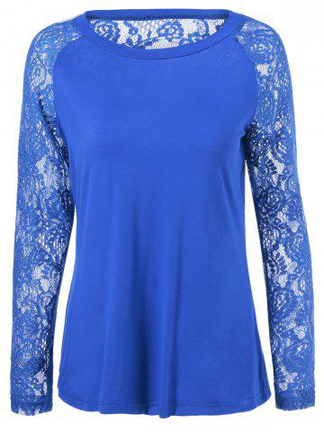 Fancy Lace Splicing Long Sleeves Blouse