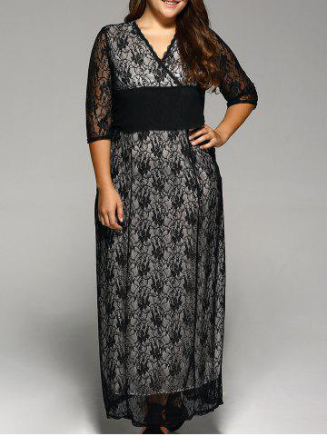 Plus Size Maxi Lace Prom Dress with Sleeves - Black - 2xl