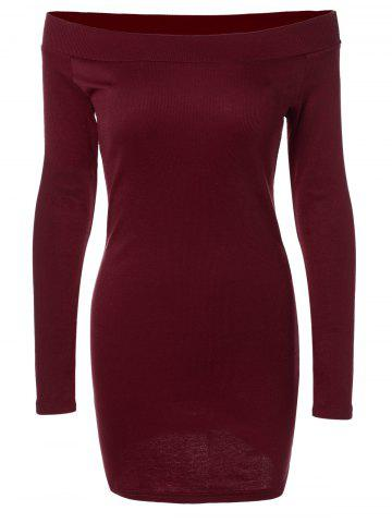 Long Sleeve Off-The-Shoulder Knitted Bandage Dress - Burgundy - S