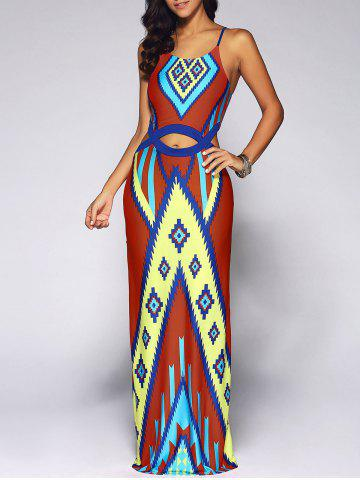 Fancy Cut Out Geometry Print African Dress