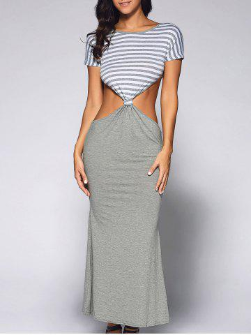 Cut Out Long Fitted Short Sleeve Striped Maxi Dress - Light Gray - S