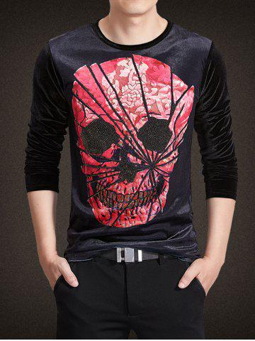 Cheap Velvet 3D Chapped Skull Print Rhinestoned Long Sleeve T-Shirt