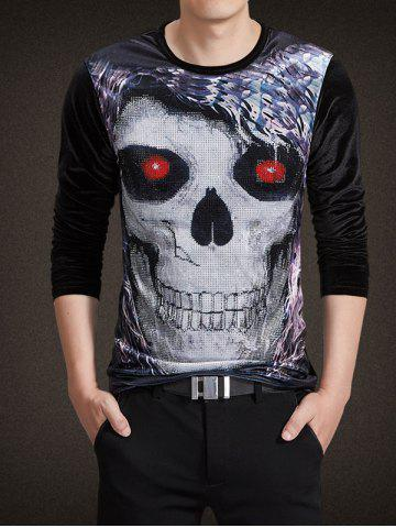 Fashion Velvet 3D Skull Print Rhinestoned Long Sleeve T-Shirt BLACK 4XL