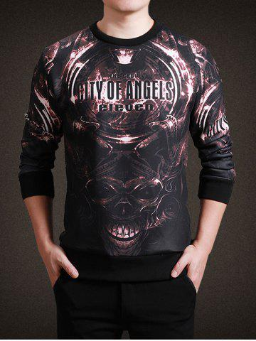 Round Neck 3D Metal Skull and Letter Print Long Sleeve Sweatshirt - COFFEE L
