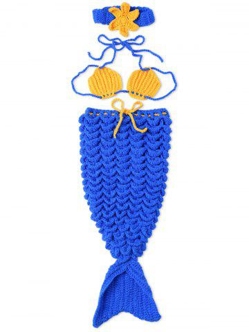 Photography Mermaid Costume Set Hand Knitted Baby Blankets - BLUE