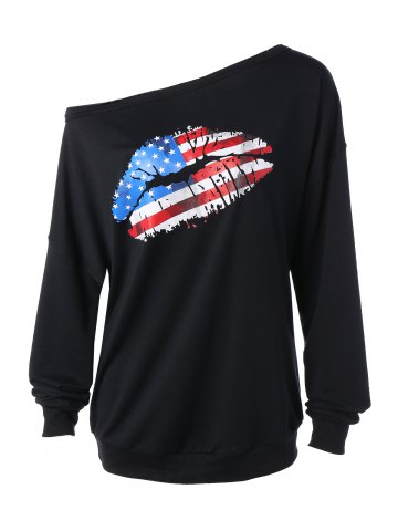 Latest Skew Collar American Flag Print Sweatshirt BLACK XL