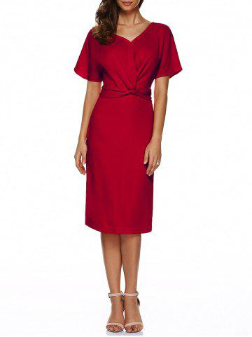 Buy V Neck Knot Knee Length Dress With Short Sleeves RED S