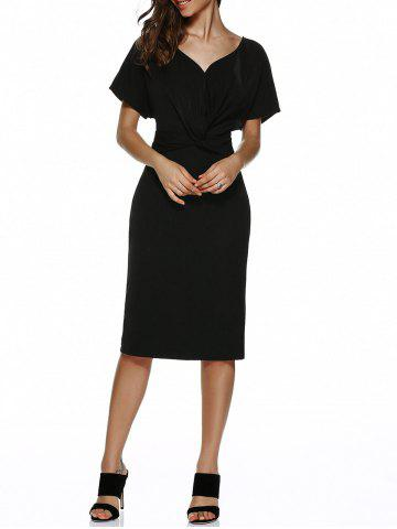 Unique V Neck Knot Knee Length Dress With Short Sleeves BLACK XL