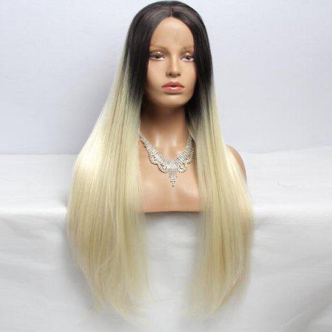 Fashion Long Straight Centre Parting Synthetic Double Color Lace Front Wig - BLACK AND GOLDEN  Mobile