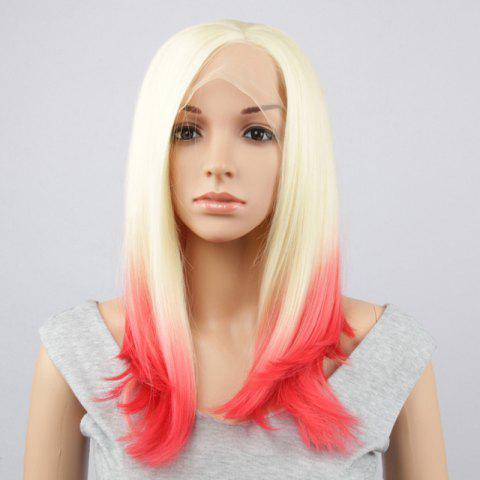 Long Straight Side Parting Synthetic Double Color Lace Front Wig - Gold And Red