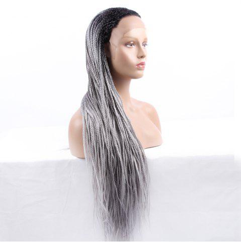 Outfit Long Braided Synthetic Double Color Lace Front Wig - BLACK AND GREY  Mobile