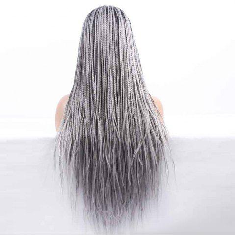 Online Long Braided Synthetic Double Color Lace Front Wig - BLACK AND GREY  Mobile