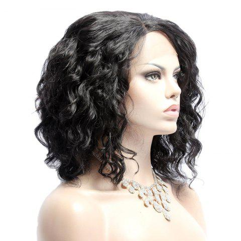 Buy Medium Fluffy Wavy Side Bang Lace Front Synthetic Wig - BLACK  Mobile