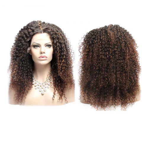Store Long Double Color Fluffy Curly Middle Part Lace Front Synthetic Wig COLORMIX