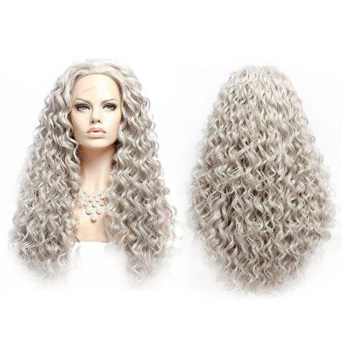 Long Fluffy Curly Lace Front Synthetic Wig - SILVER GRAY