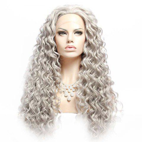 Best Long Fluffy Curly Lace Front Synthetic Wig - SILVER GRAY  Mobile