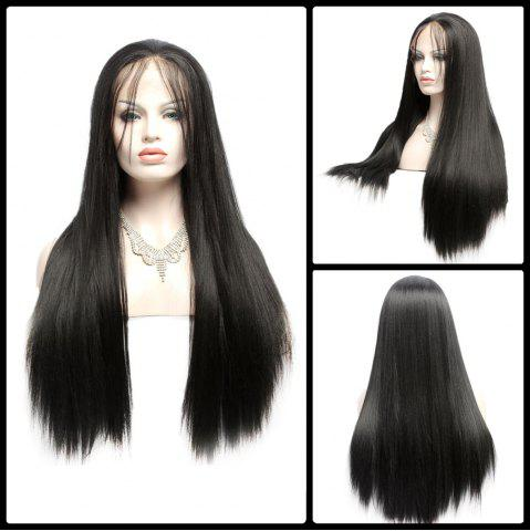 Outfit Long Side Bang Yaki Straight Lace Front Synthetic Wig BLACK