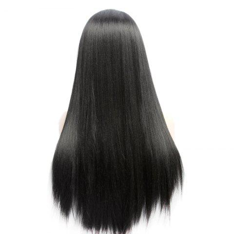 Shop Long Side Bang Yaki Straight Lace Front Synthetic Wig - BLACK  Mobile