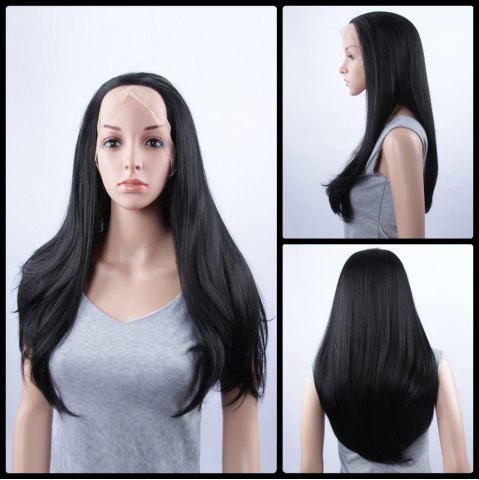 Fancy Long Natural Straight Lace Front Synthetic Wig - JET BLACK  Mobile