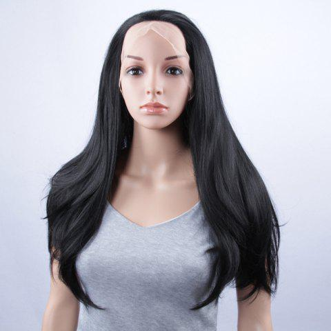 Trendy Long Natural Straight Lace Front Synthetic Wig - JET BLACK  Mobile