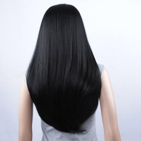 Hot Long Natural Straight Lace Front Synthetic Wig - JET BLACK  Mobile