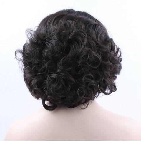 Best Endearing Short Curly Lace Front Synthetic Wig - BLACK  Mobile