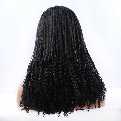 Affordable Gorgeous Long Braided With Curly Synthetic Lace Front Wig - BLACK  Mobile