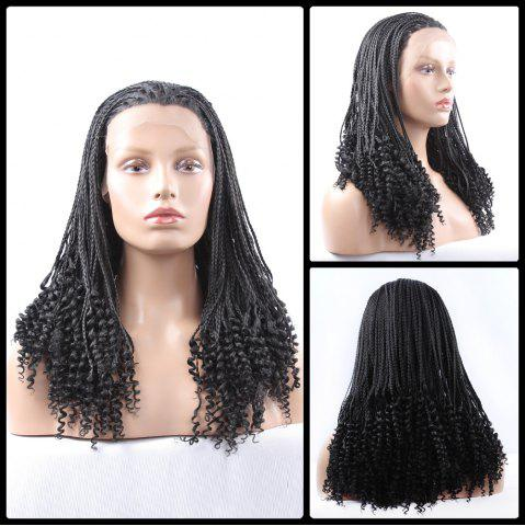 Hot Gorgeous Long Braided With Curly Synthetic Lace Front Wig - BLACK  Mobile