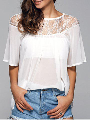 Discount Round Neck See-Through Lace Spliced Blouse