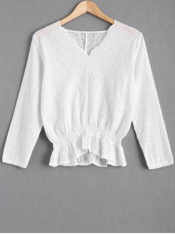 Affordable Hollow Out Flounce Lace Spliced Blouse